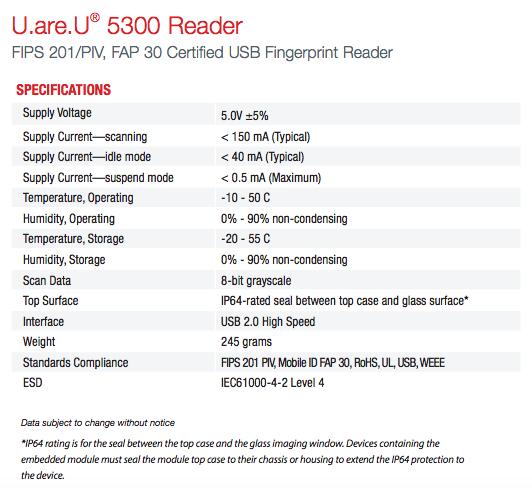 U.ARE.U 5300 READER