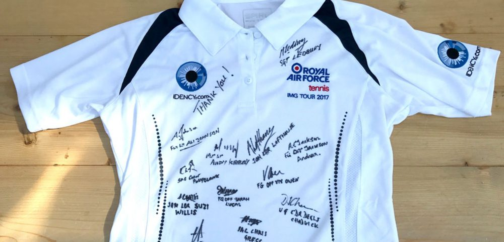 Idency Sponsor logo on signed RAF Tennis shirt