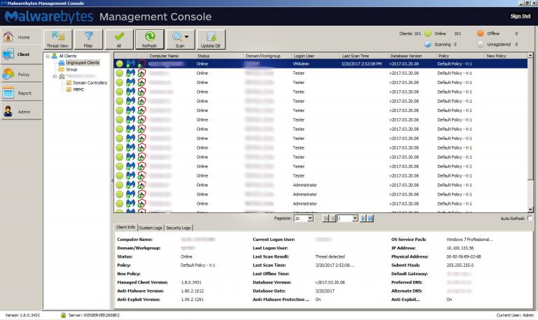latest version of malwarebytes management console