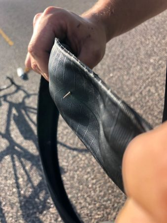 Thorn through a bike tyre