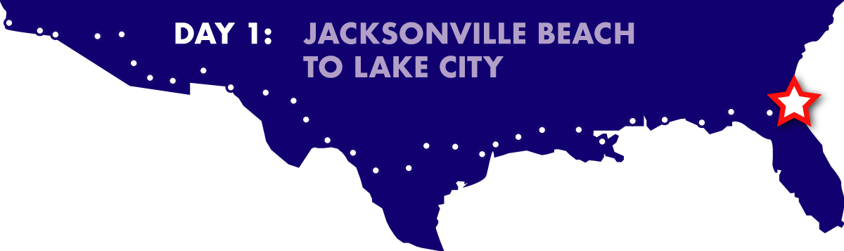 Cycle America route Day 1: Jacksonville Beach to Lake City