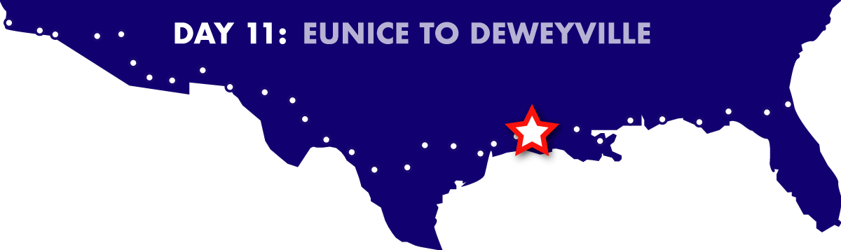 Route map - Eunice to Deweyville