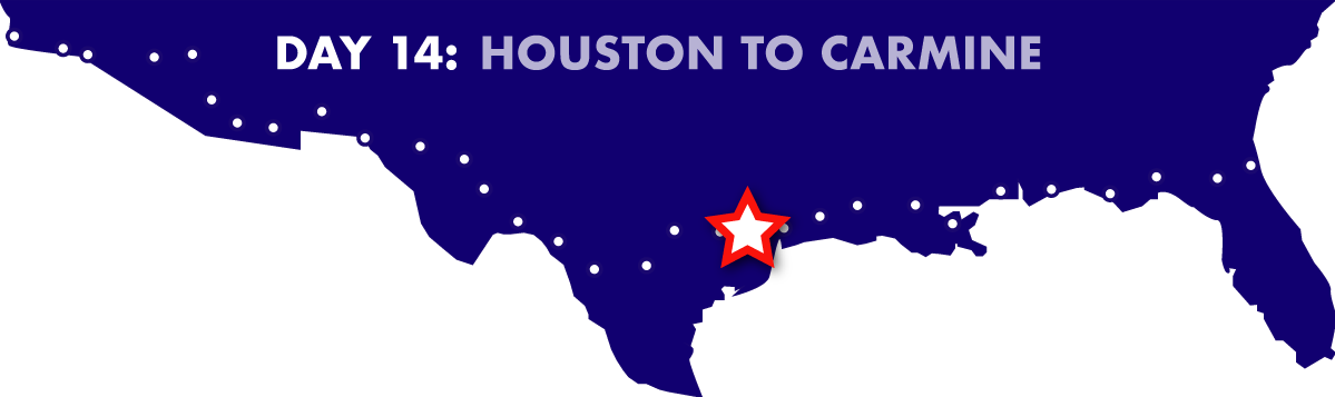Day 14: Houston to Carmine