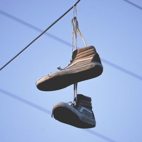 Shoes tossed onto overhead cables