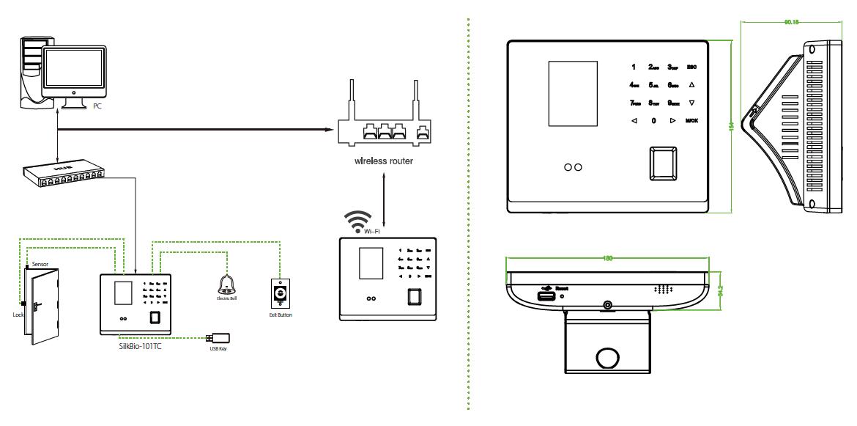 ZKTeco-SilkBio-101TC-Connection-and--measurements-Diagram