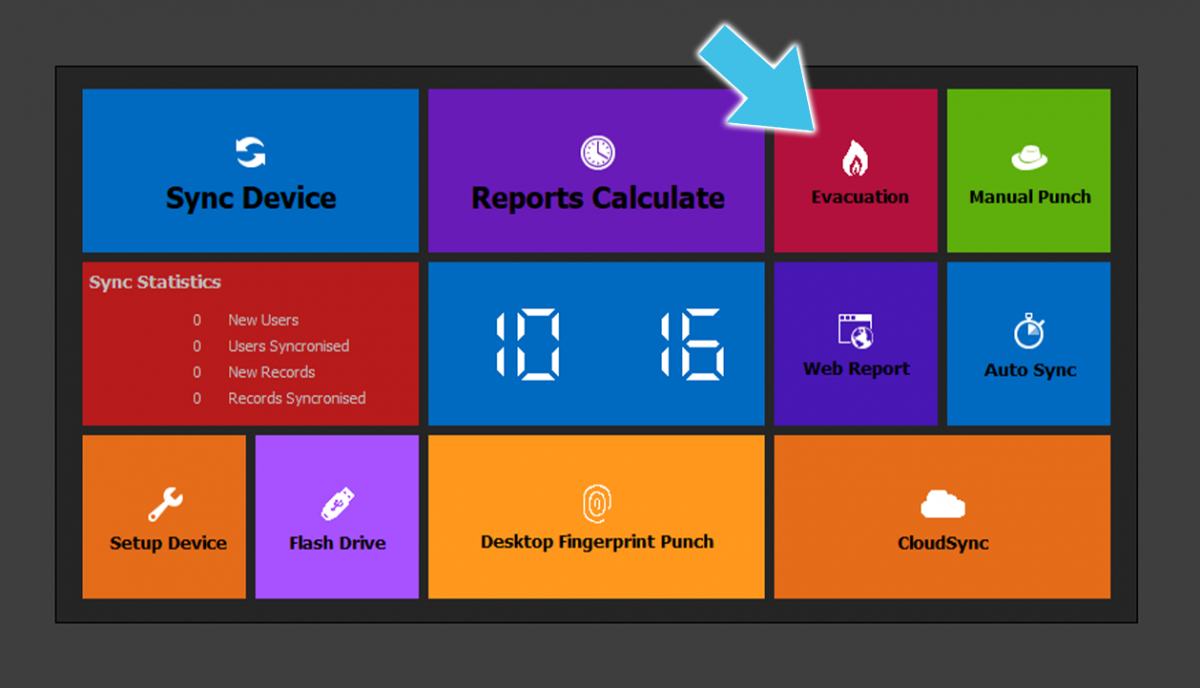 ClockReportsXE Evacuation Report Button