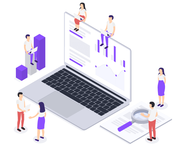 Isometric image showing people in abstract working environment with laptop and documents